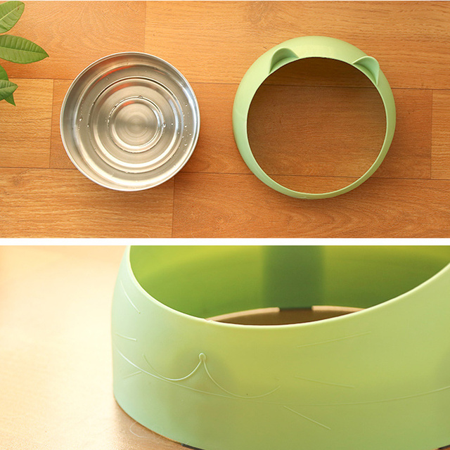 Creative  Cat Food Bowl Antiskid Pet Stainless Bowls Cat Feeder Water Bowl Plastic Pet Kitten Bowl Perfect Cats Puppy Supplies