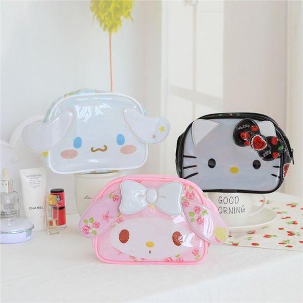 Sanrio Hello Kitty My Melody Cinnamoroll Pvc Cosmetic Bag Woman Waterproof Portable Travel Wash Bag Storage Makeup Bag Organizer