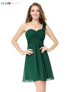 Image 4 - Élégant court robes de demoiselle dhonneur jamais jolie a ligne chérie une épaule Simple en mousseline de soie robes dinvité de mariage Sukienki 2020