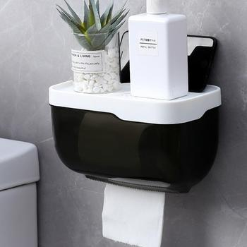 Bathroom Toilet Paper towel Holder Wall Mount Plastic WC Toilet Paper Holder with Storage Shelf Rack Paper Storage Box creative home practical paper towel storage box retro simple style cute camera shape paper towel holder toilet paper storage box