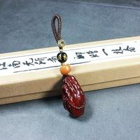 Kırmızı sandal ağacı Guanyin Bergamot şanslı Maitreya kolye araba el yapımı anahtarlık erkekler ve kadınlar kolye|Araba için Anahtar Kılıfı|Otomobiller ve Motosikletler -