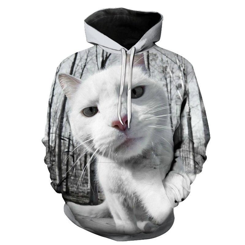 Women's Two Cat Sweatshirts Long Sleeve 3D Hoodies Sweatshirt Pullover Tops Blouse Pullover Hoodie Poleron mujer Confidante Tops 67