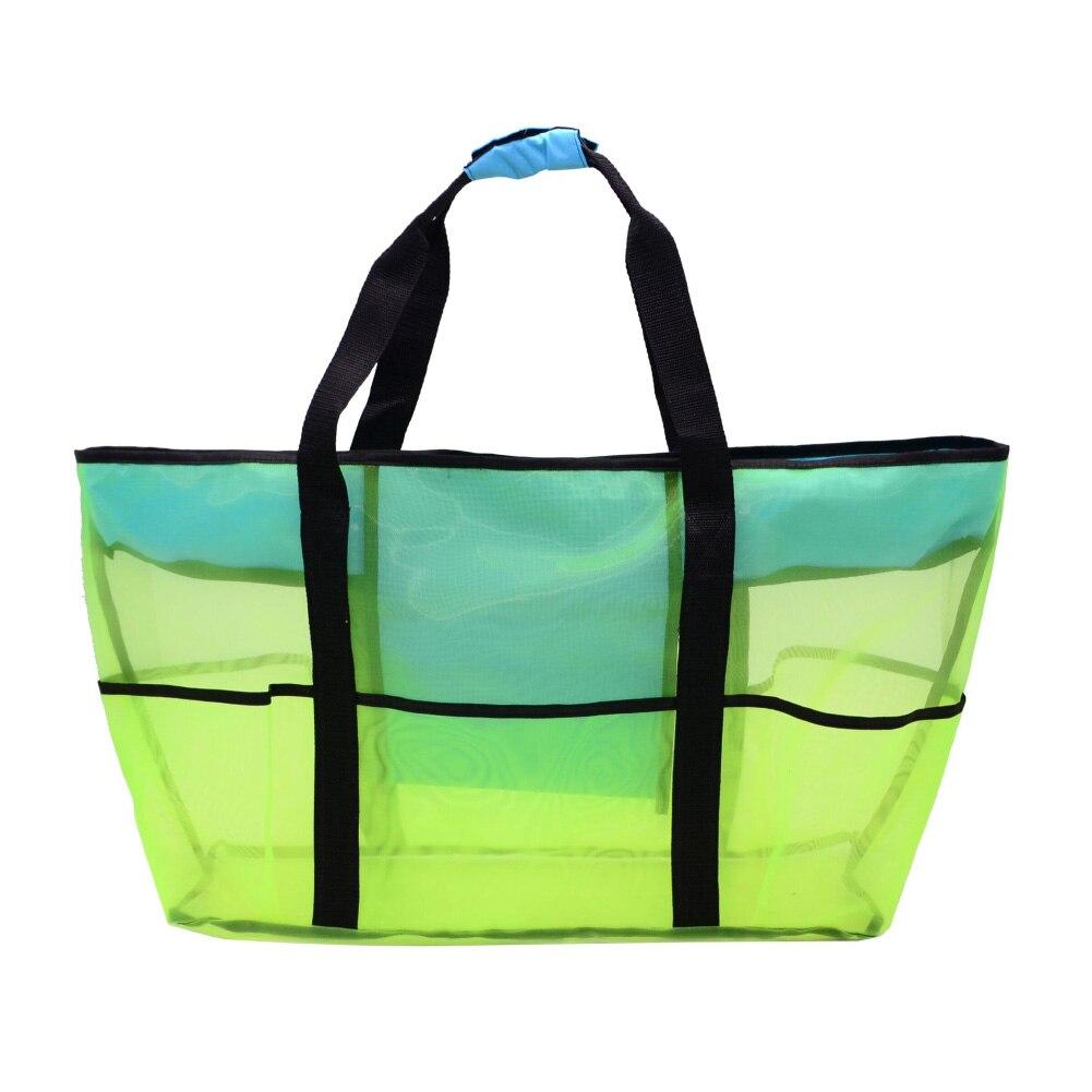 Grand sac de plage en maille vert