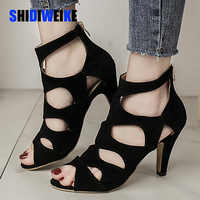 2020 women Spike Heels Sandals peep toe hollow out chunky gladiator sandals with strap black spring summer shoes AB142