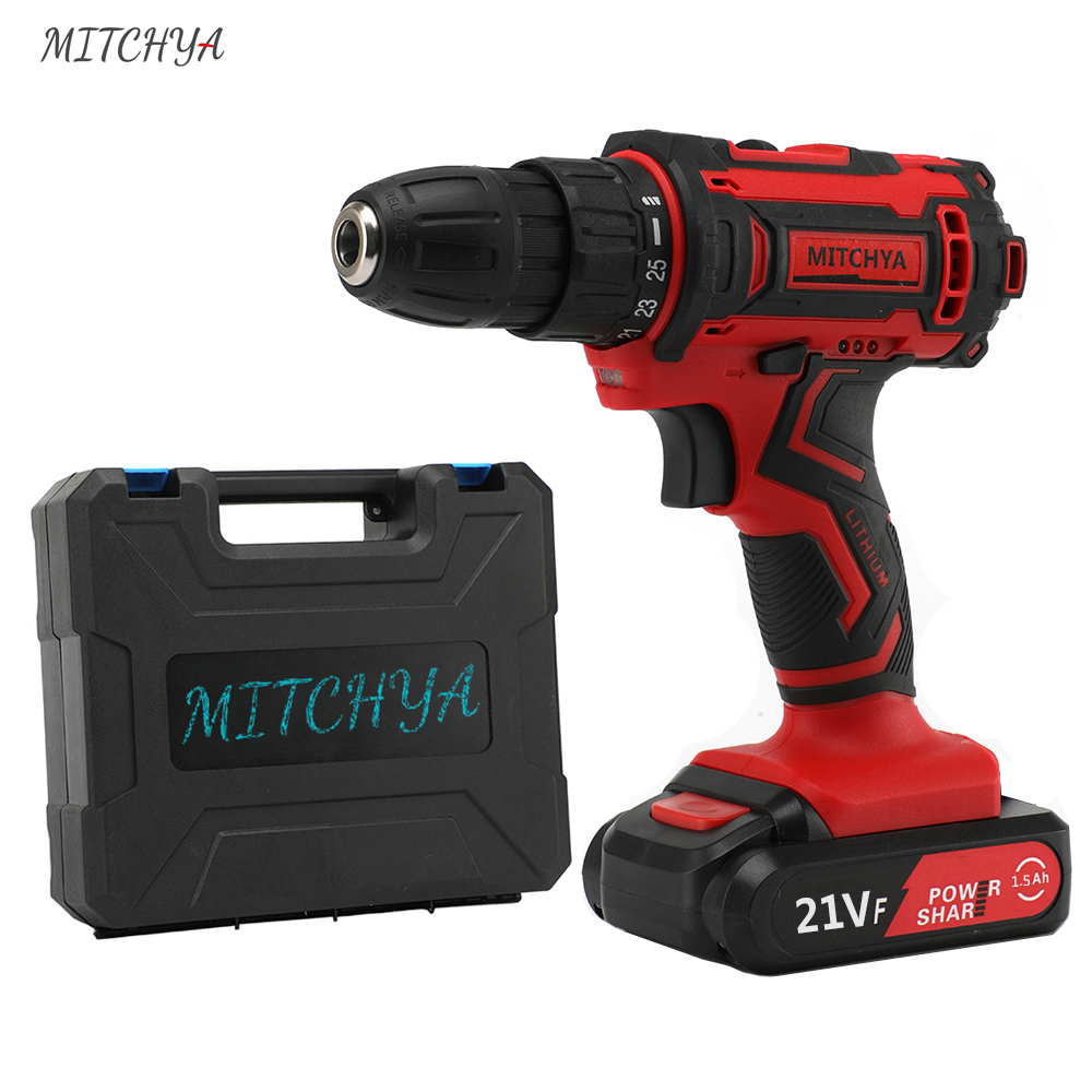 21V Max Electric Screwdriver Cordless Drill Mini Power Tools 3/8-Inch 2-Speed