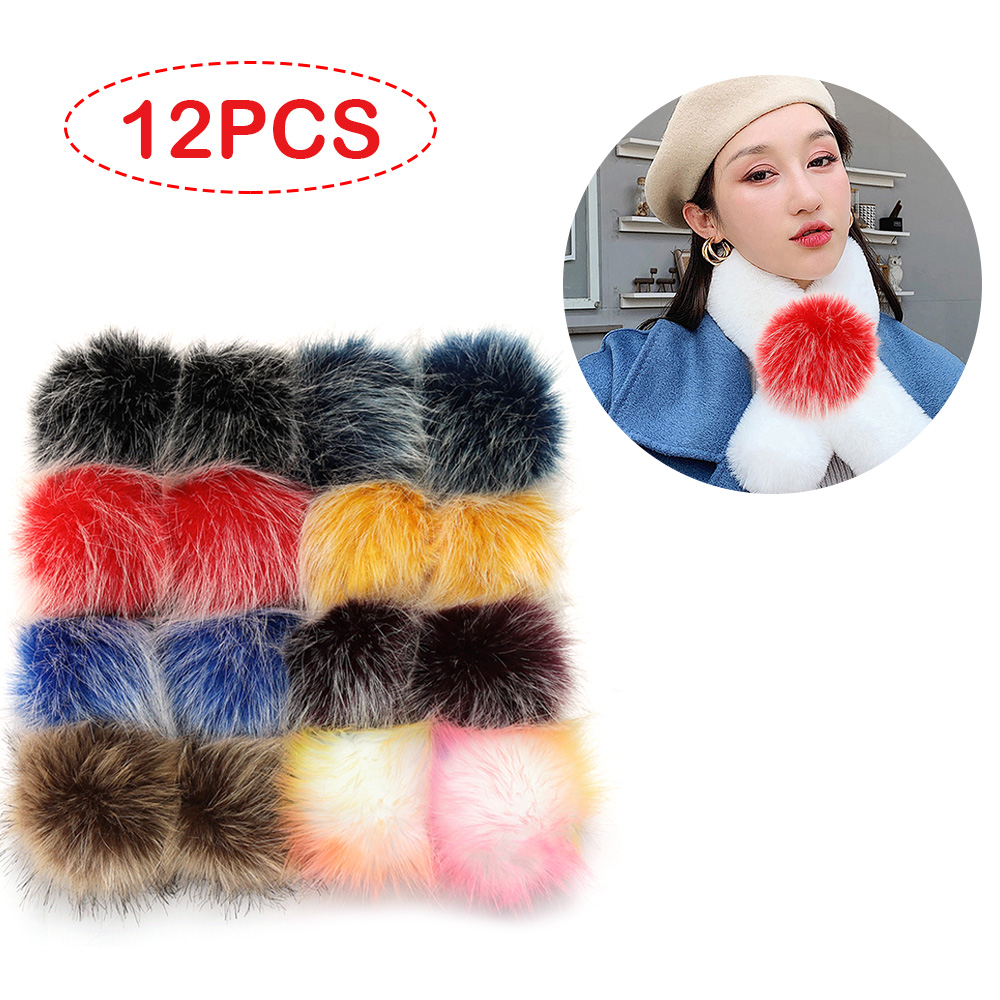 12pcs 10cm Faux Fur Pom Poms Pompoms With Elastic Loop For Knitting Hats Shoes Scarves Bags Keychains DIY Crafts Accessories