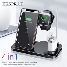 Carregador sem fio 4 em 1 10 w carregamento rápido para iphone 11/11pro/x/xs/xr/xs max/8/8 plus para apple watch 5 4 3 2 airpods almofada de lápis