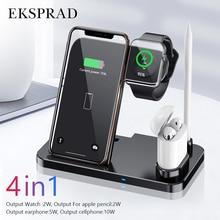 Kablosuz şarj cihazı 4 in 1 10W hızlı şarj için iPhone 11/11pro/X/XS/XR/Xs Max/8/8 artı Apple için 5 4 3 2 Airpods kalem Pad
