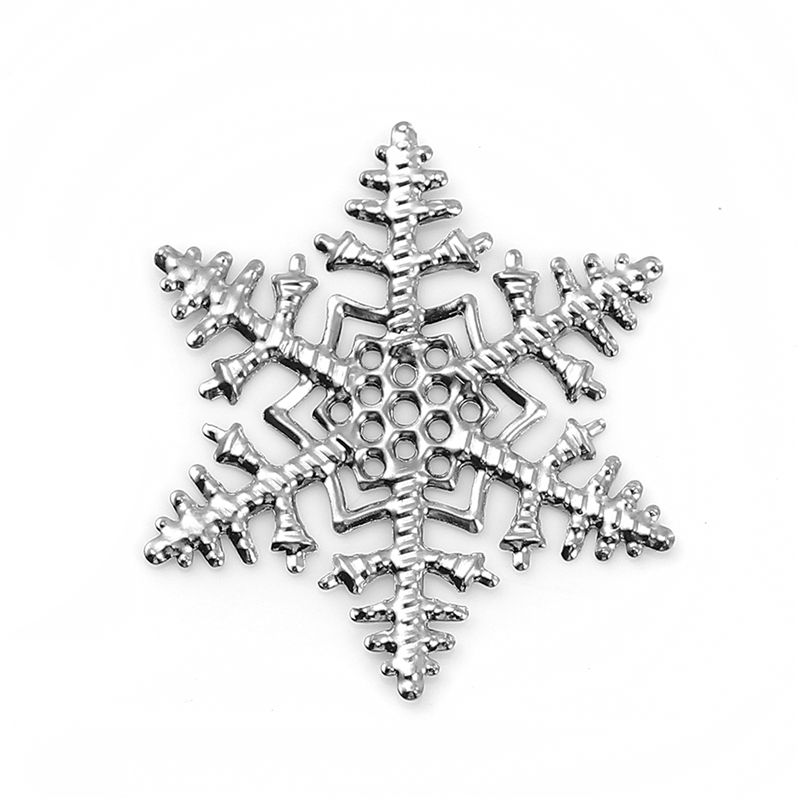 Iron Alloy Filigree Stamping Embellishments Christmas Snowflake Silver Embellishments For Jewelry Making 45mm X 45mm, 30 PCs
