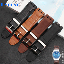 Pulseira de relógio de couro genuíno, alta qualidade, luxo, para swatch, pulseira de relógio 23mm, pulseira de relógios masculinos
