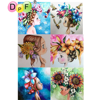DPF 5D Embroidery Round full Diamond Painting Cross Stitch little girl Crafts Diamond Mosaic Needlework kits Home Decor picture image