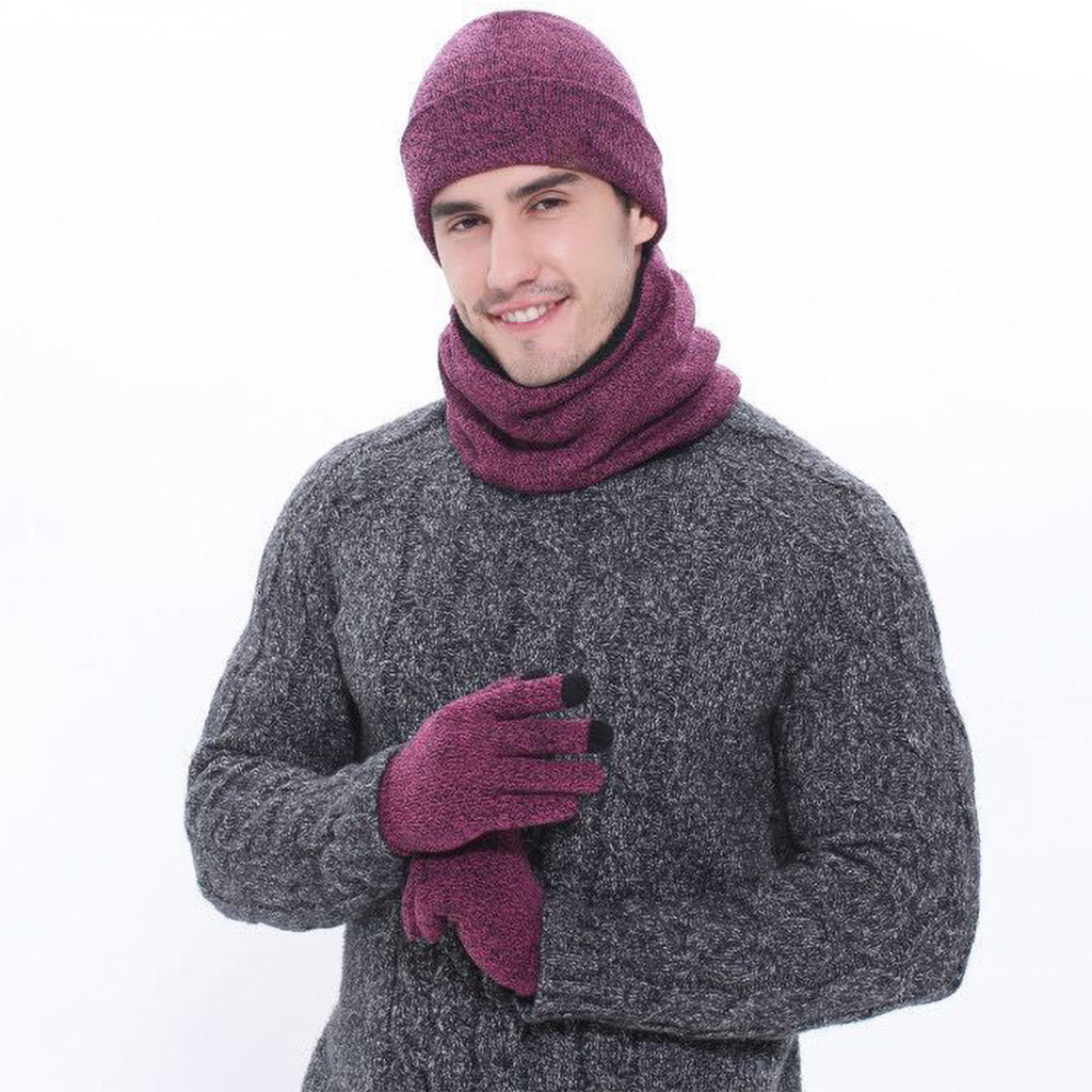 Winter Unisex Knitted Scarf Beanie Hat And Gloves Set Stretch Hat Scarf And Mitten Set Scarf, Hat & Glove Sets  Accessories