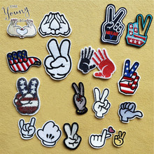 Hot sale Mixture Finger Parches Embroidered Iron On Patches For Clothing DIY Stripes Clothes Stickers Custom DIY Clothes Badges
