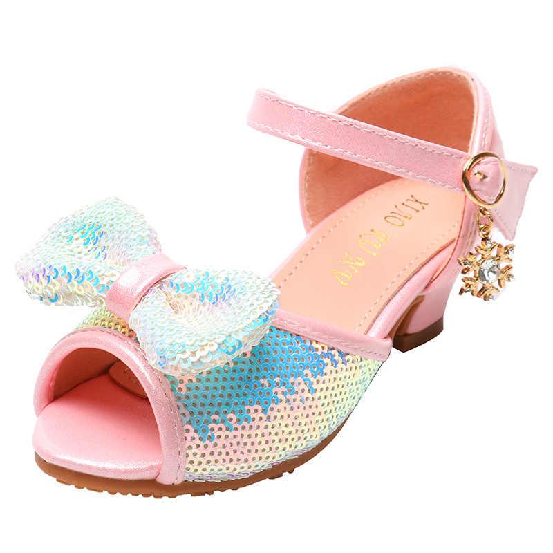 Sequins Bow Big Kids Shoes High Heels