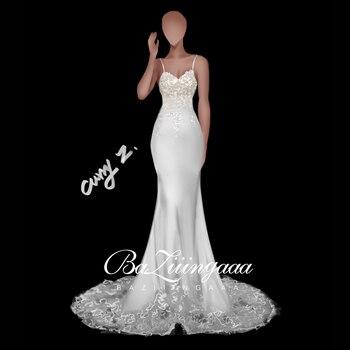 BAZIIINGAAA Luxury Wedding 2020 Mermaid Wedding Dress Handmade Custom Accept Drawing Wedding Dress P