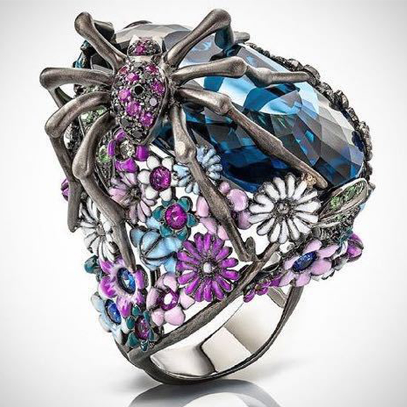 Linmouge Flower Women;s Ring Blue Crystal Spider Animal Personality Silver Color Vintage Ring Party Punk Luxury  Jewelry RF31