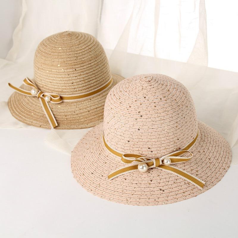Interesting/® Mujeres pescador bowknot Straw Bucket sombreros grandes sombreado sombreado sombrero de sol