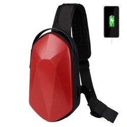 Сумка на плечо с USB-зарядкой для мужчин, мессенджер с защитой от кражи, водонепроницаемый нагрудной мешок-слинг, школьный портфель через пле...