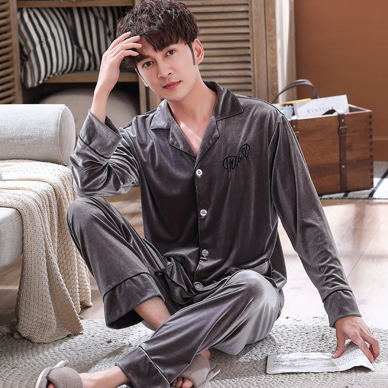 Autumn And Winter Keep Warm Men Velvet Pajamas Set Pyjamas Suit Elegant Solid Gray Nightwear 2pcs Sleepwear Plus Size  Homewear