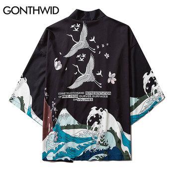 GONTHWID żuraw wiśniowe kwiaty kwiaty Seawaves drukuj przód otwarty kardigan kimono koszule Streetwear Hip Hop kurtki okazjonalne topy tanie i dobre opinie Otwórz stitch Kurtki płaszcze 201319 REGULAR Cienkie NONE Poliester Kieszenie Japan style Skręcić w dół kołnierz
