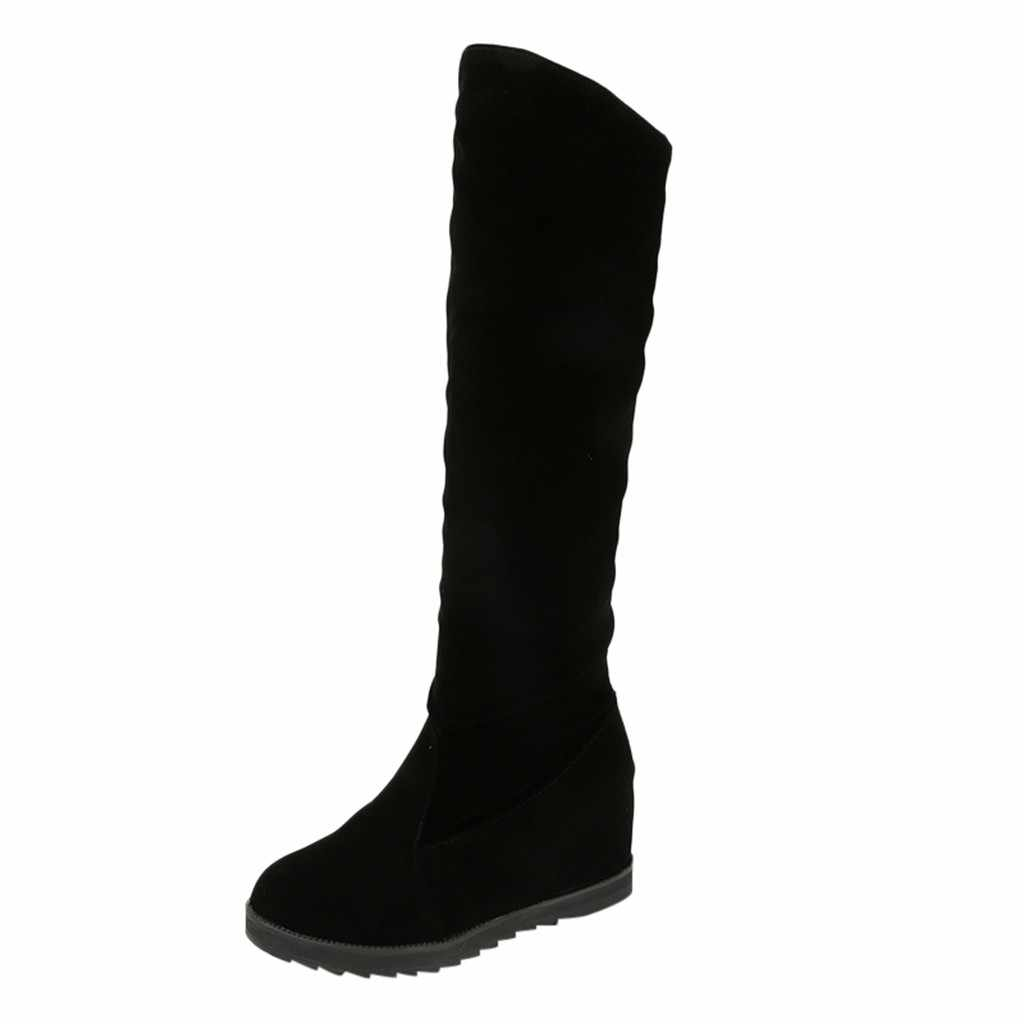 New Women's Boots Women On The Knee Elastic Boots Shoes Sexy Middle Tube Wedge Shoes Fashion Ladies Boots Shoes
