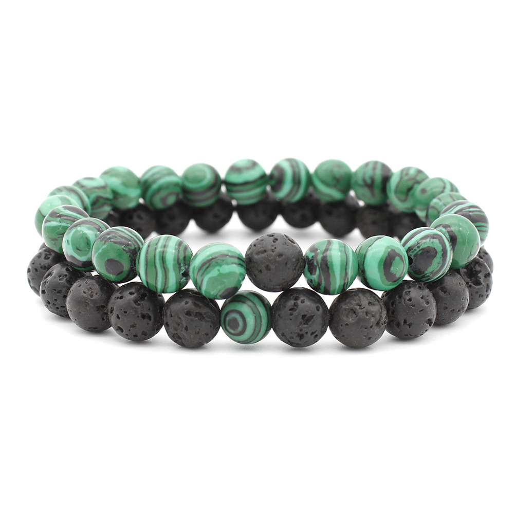New 8MM Lava Rock Beads Couple bracelets Set For Women Men Classic Natural Stone Essential Oil Diffuser Bangle Handmade Jewelry