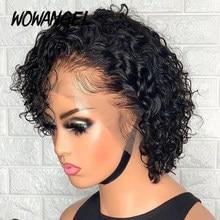 Wowangel pixie corte peruca do laço pré-arrancado corte blunt bob fechamento peruca dianteira do laço perucas de cabelo humano curto encaracolado perucas de cabelo humano sem cola