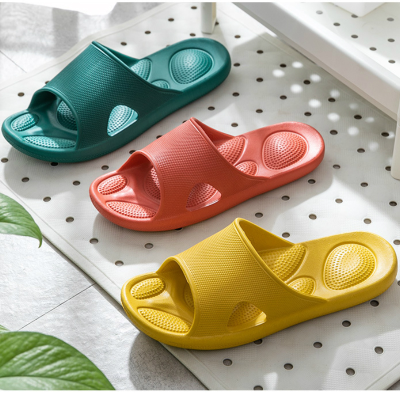 Summer Women Indoor Slippers Home Massage Ladies Shoes Non Slip Thick Soft Bottom Bathroom Shower Solid Peep Toe Couple House