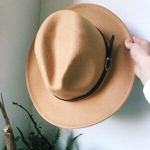 Image 4 - Mens Top Hats Felt Women Fedora Hat Winter Imitation Woolen Female Felt Hat Classic British Jazz Streetwear Top Hats for Men