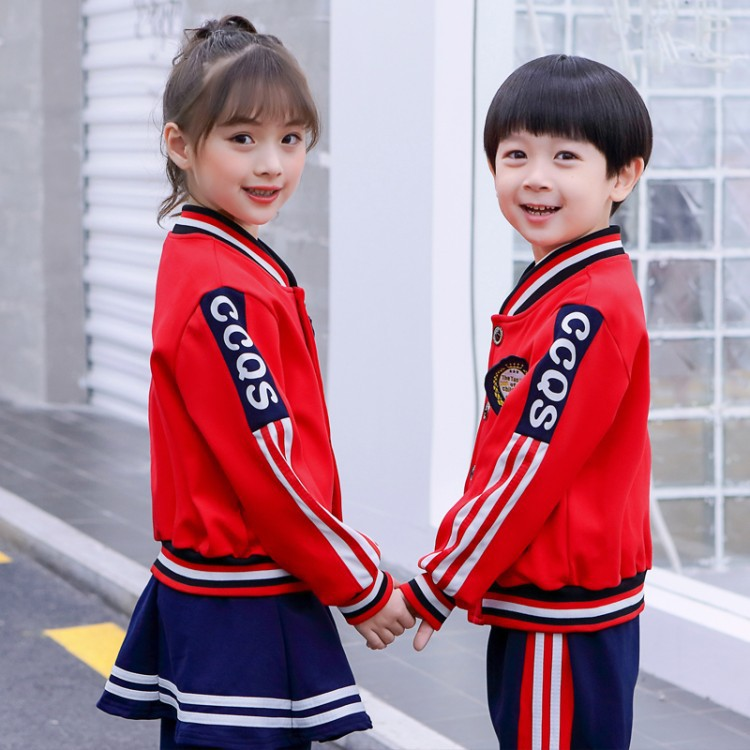 New Style British Style Kindergarten Spring And Autumn Red Orange Set Young STUDENT'S School Uniform Business Attire Sports Teac