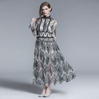 long sleeve black lace a line solid vintage sexy club high waist casual england style spring dress