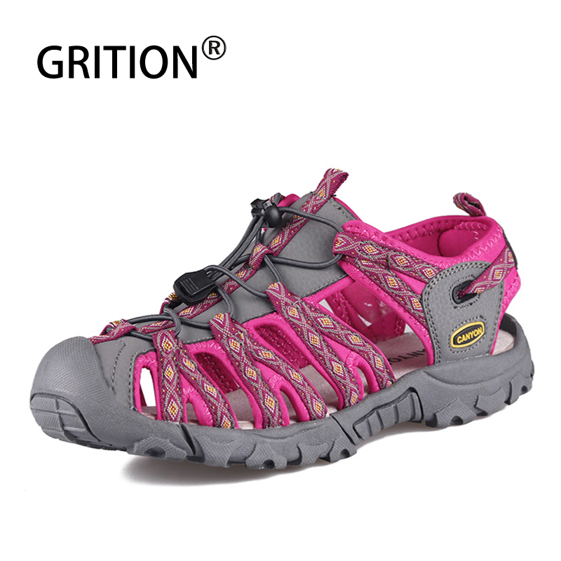 GRITION Women Sandals Platform Wedge Walking Hiking Ladies Leather Shoes Summer Outdoor Beach Flat Casual Sports Style Sandalias