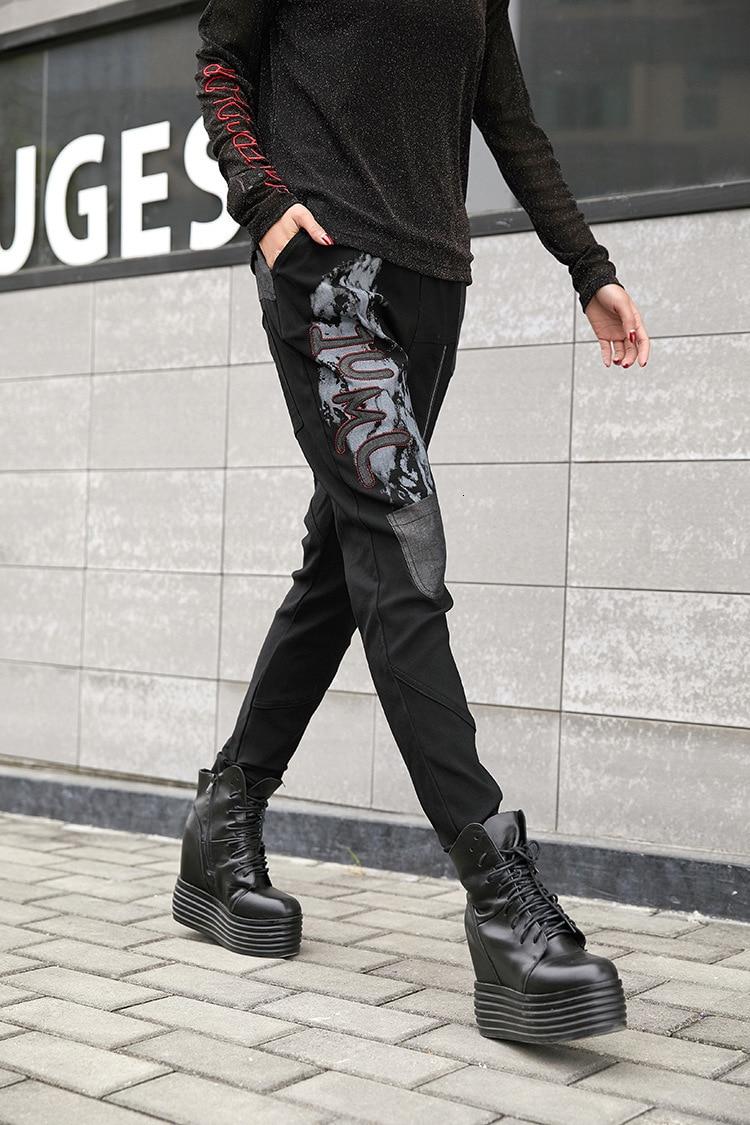 prined 本日の割引 最大ルル春のファッションヴィンテージ弾性ハーレムパンツ韓国レディースブラックスキニーリッピング LuLu 12