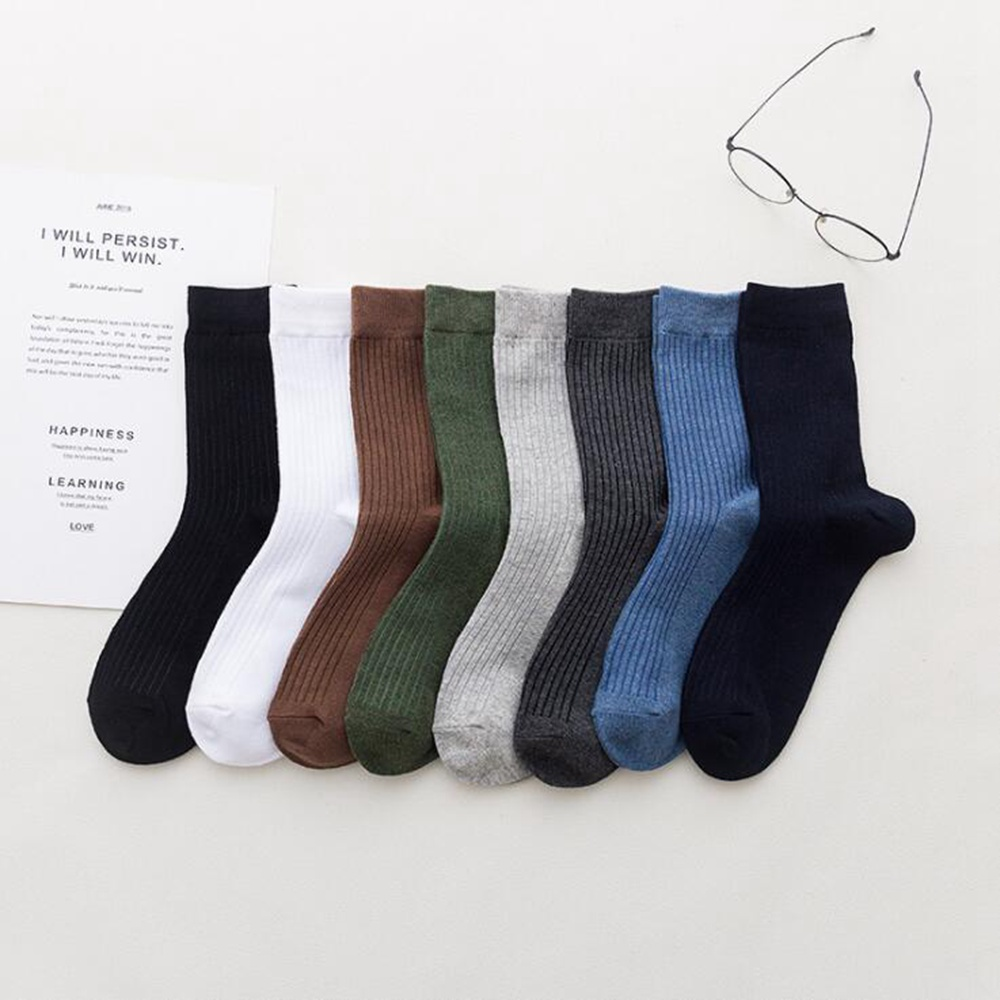 1 пара осенних новых деловых носков 100% хлопок в трубке мужские носки Универсальные однотонные дышащие впитывающие Пот Мужские носки