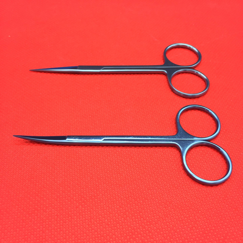2pc Titanium Iris Scissors Straight/Curved Ophthalmic Eye Surgical Instrument