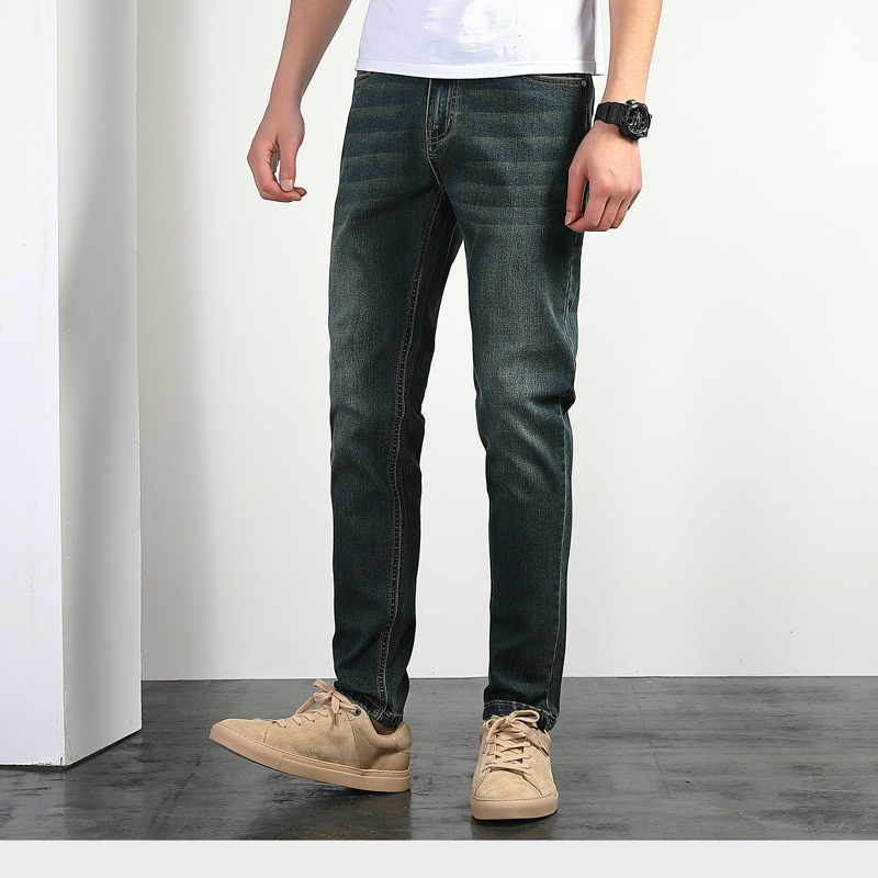 MEN'S Jeans Summer Thin Section Loose Straight Elasticity Washing Large Size Versatile Trousers Youth Popular Brand Casual Pants