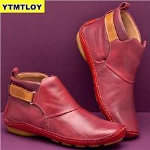 Women's PU Leather Ankle Boots Women Autumn Winter Cross Str