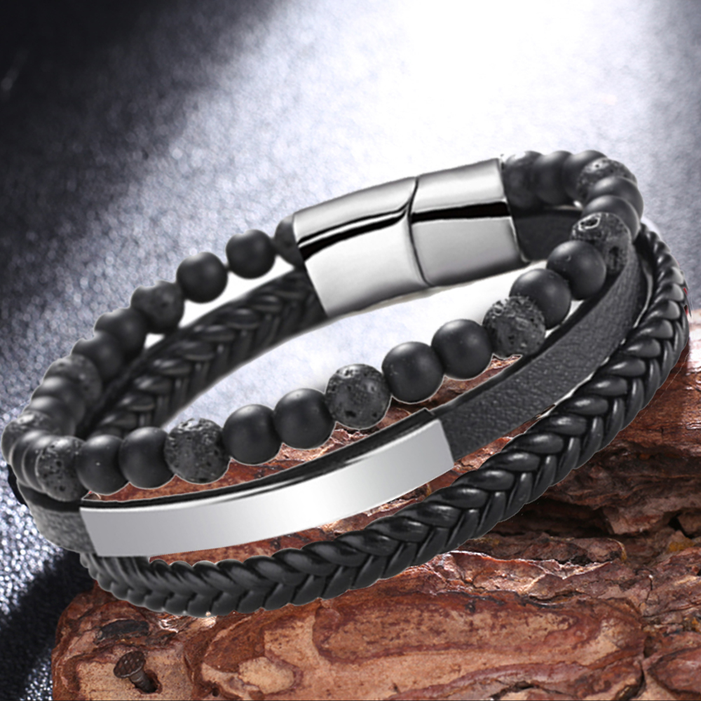1PCS Weight Loss Bracelet Natural Round Black Stone Beaded Magnetic Therapy Bracelet Health Care Bracelets Slimming Product