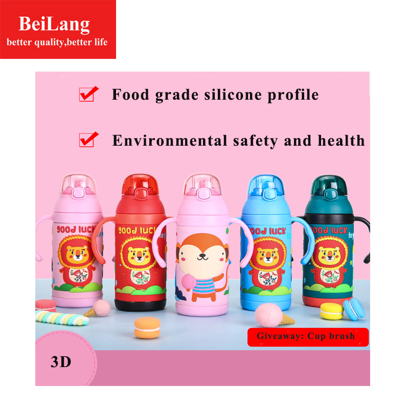 BeiLang Hot 350ML baby  children cup cute learn training feeding drink water 304 stainless steel straw thermos jars