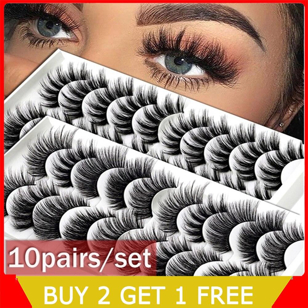 8styles 10Pairs/Set  Multipack Natural False Eyelashes For Woman 2020 Soft Cross Cheap Mink Lashes 3D Eyelashes Drop Shipping