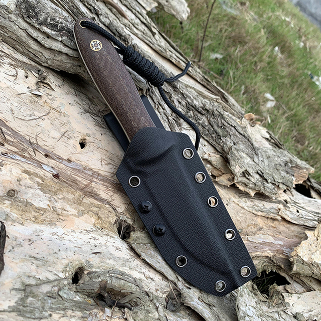 D2 Steel TUNAFIRE new fixed knife high-end Micarta handle field hunting self-defense tactical knife with Kydex Sheath 6