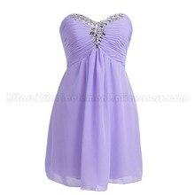 Factory Real photo Lilac Chiffon Short Bridesmaid Dresses Wedding Party Dress For Junior