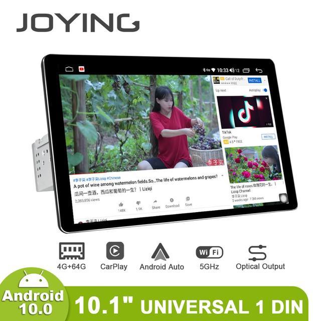 Disfrutando Radio Pantalla 1 din Android 10 reproductor Multimedia de la unidad 4GB 64GB Carplay Android Auto 4G HD Pantalla óptica salida OBD