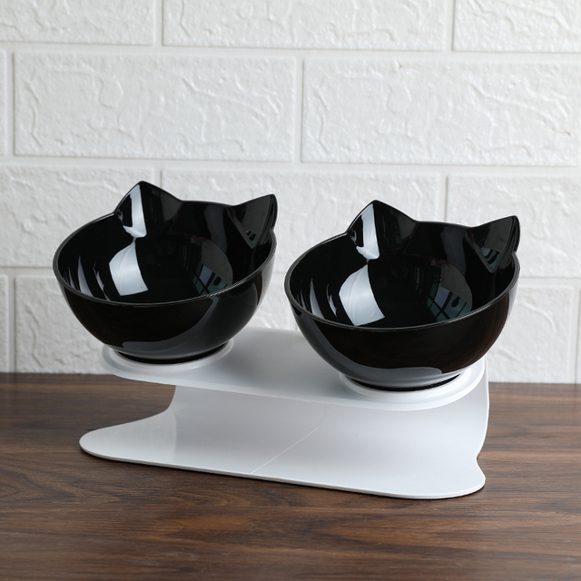 Explosive Cat Double Bowl Cat Bowl Dog Bowl Transparent AS Material Non-slip Food Bowl With Protection Cervical Transparent Cat 2
