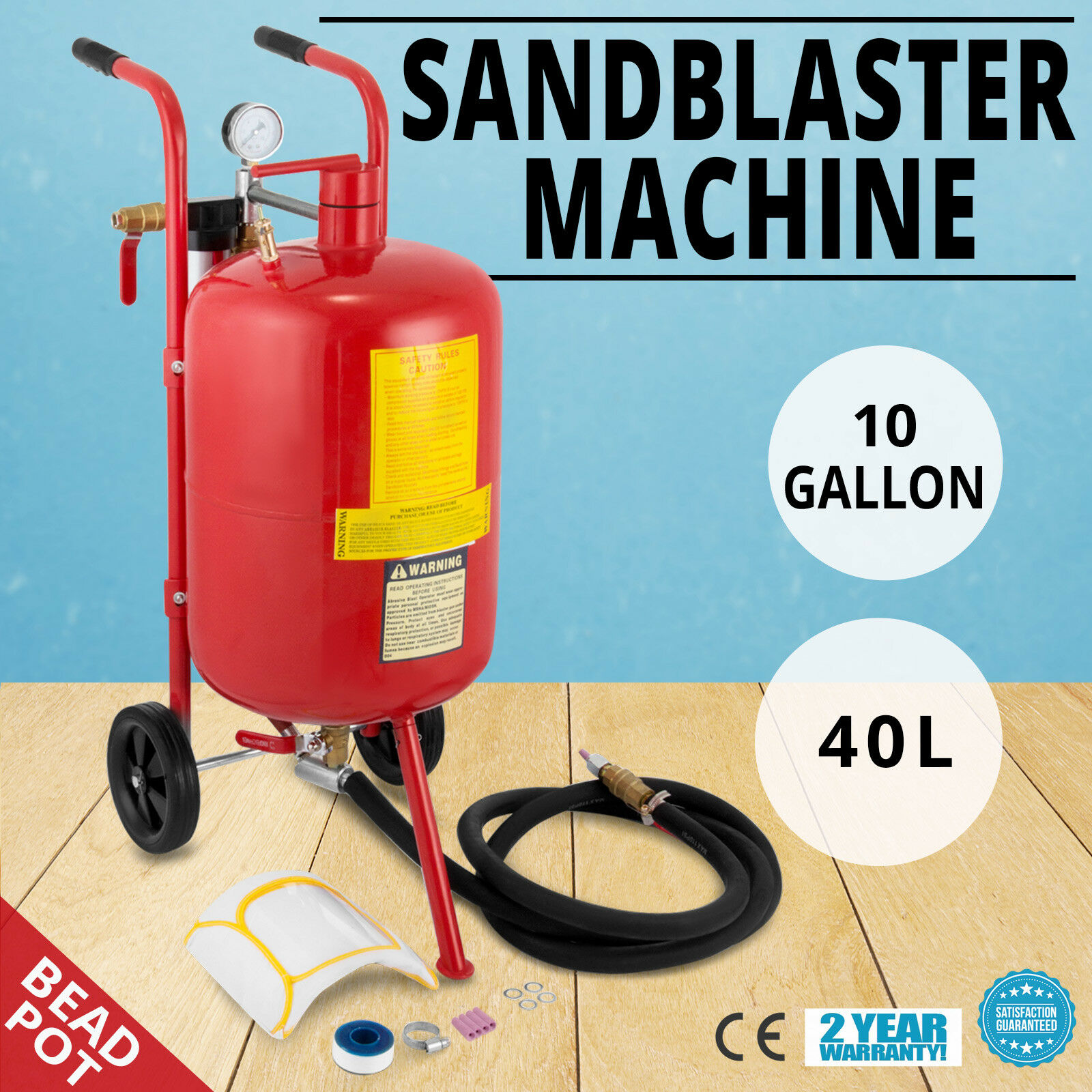 VEVOR 10 Gallon/40L Sandblaster Bead Pot Sand Blaster Grit Blasting Blast Sandblasting
