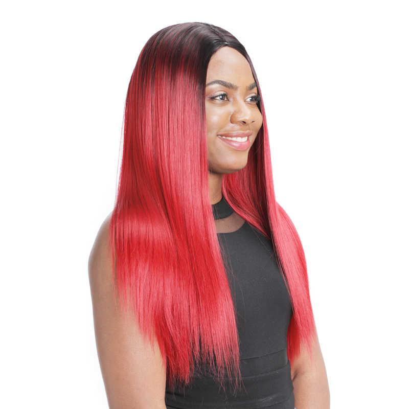 12 cores barato 60cm colorido perucas 2 tom ombre longo seda cabelo reto perucas sintéticas parte média resistente ao calor perucas para mulher
