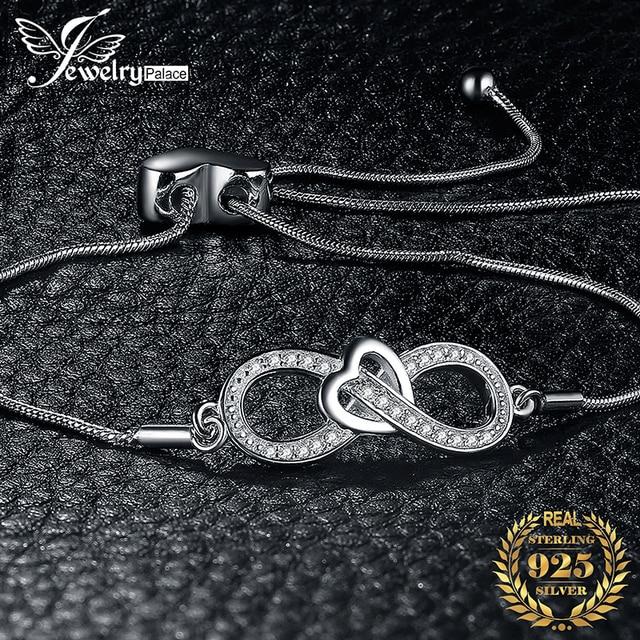 JewelryPalace Infinity Cuore 0.1ct Cubic Zirconia Regolabile Bracciale In Argento Sterling 925 Catena Regolabile Donne Braccialetti con ciondoli