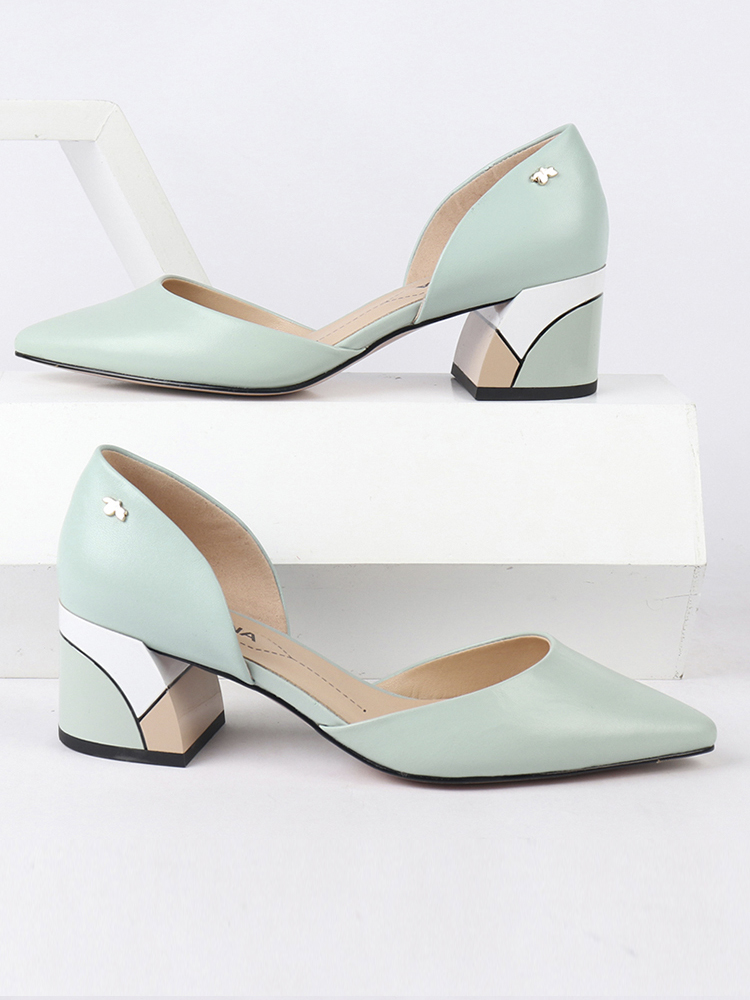 SOPHITINA Square Heel Shoes Pumps Shallow Genuine-Leather Fashion High-Quality Slip-On