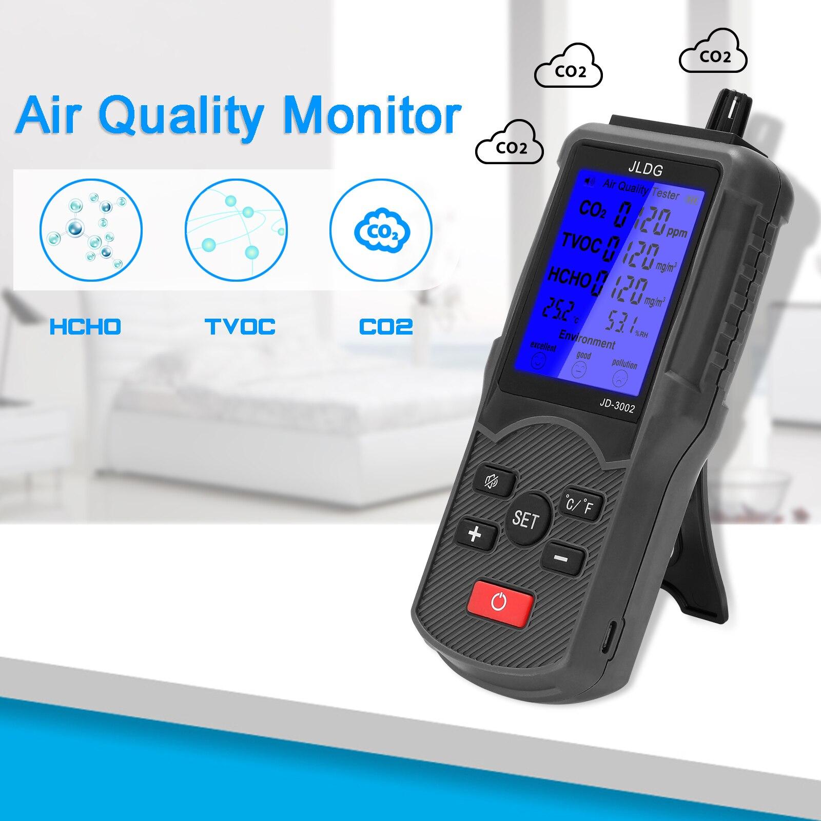 JD-3002 измеритель качества воздуха, Многофункциональный тестер качества воздуха, CO2 TVOC Измеритель температуры и влажности, измерительный при...