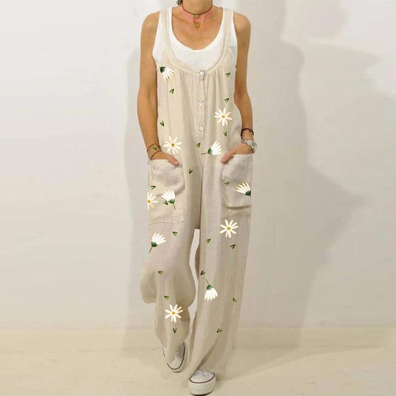 Retro Flower Print Cotton Linen Women Jumpsuit Summer Elegant Button Strappy Backless Bodysuit Sexy Pocket Loose Trousers Romper